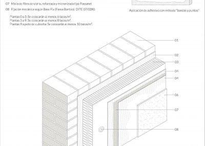 Sección completa de las capas que componen una rehabilitación con fachada sate