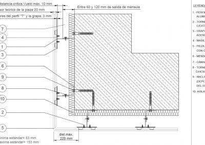 Detalle de fachada ventilada, arquitectura