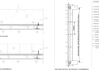 Detalle de fachada ventilada, arquitecto